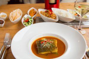 Gerecht, indonesisch restaurant blauw