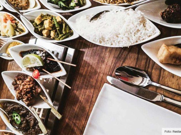 rijsttafel, indonesisch restaurant blauw